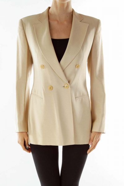Beige Double-Breasted Designer Suit Jacket