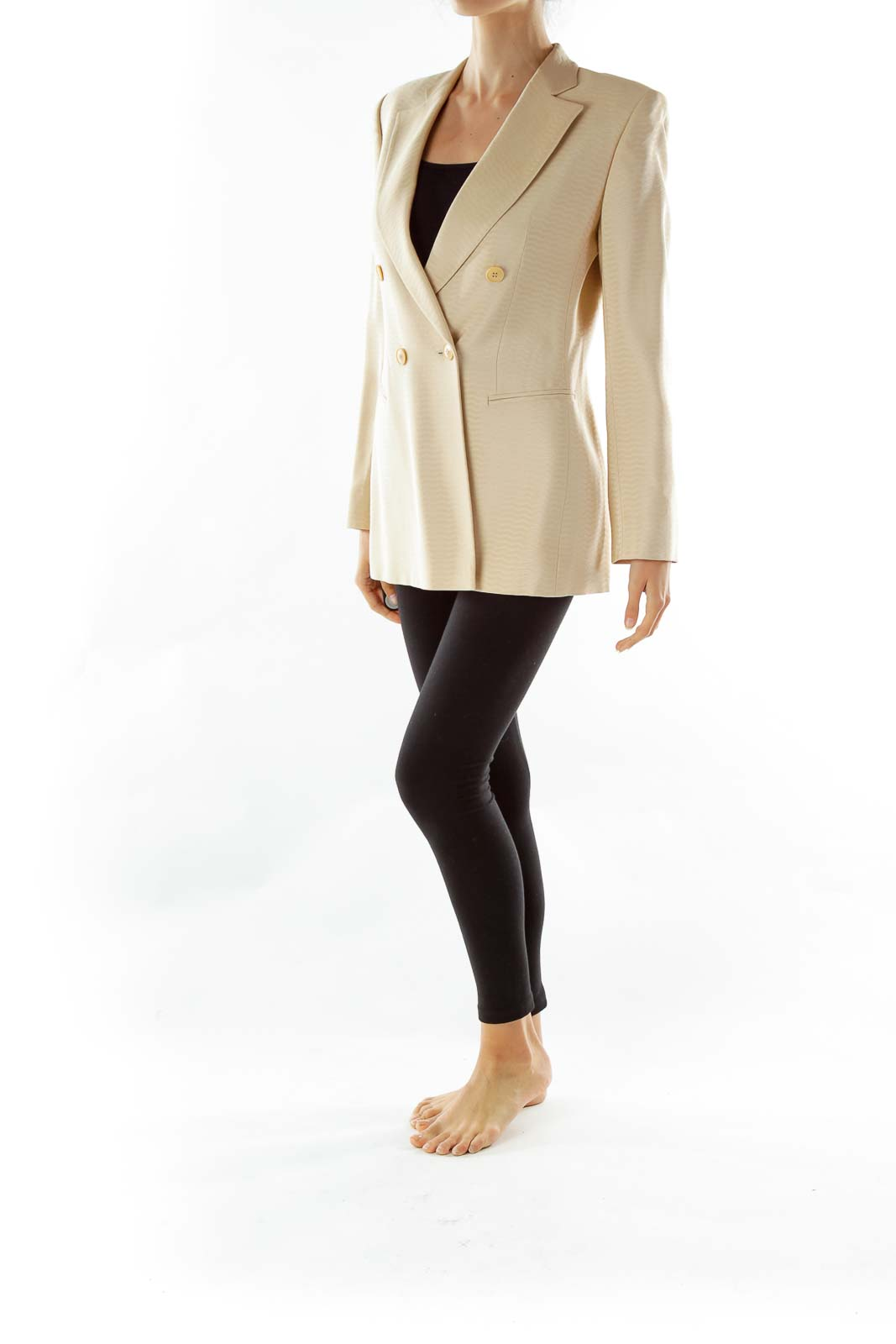 Beige Double-Breasted Designer Suit Jacket