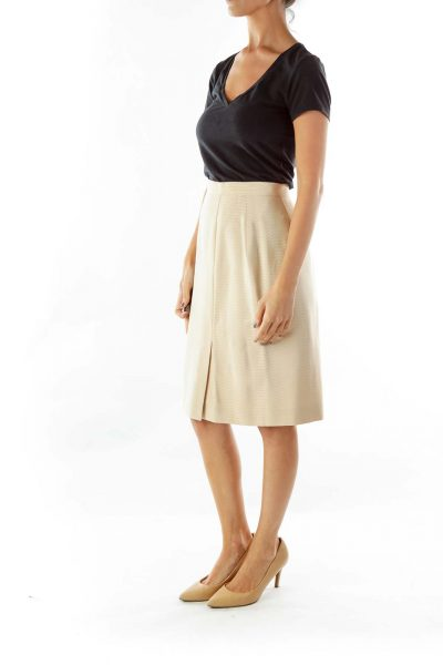 Beige Designer Pencil Skirt