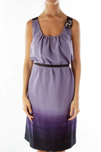Purple Black Ombre A-Line Dress