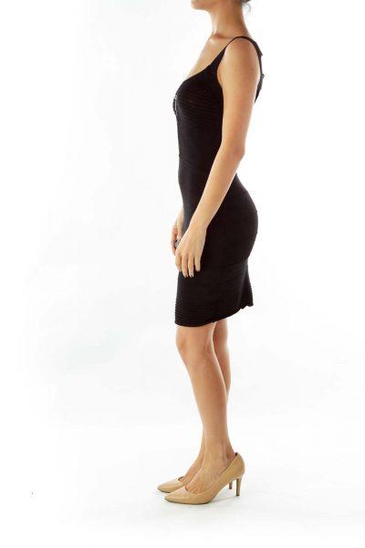 Black Stretchy Embossed Dress