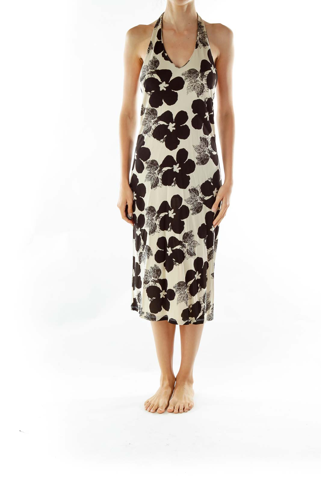 Black Beige Flower Print Halter Dress