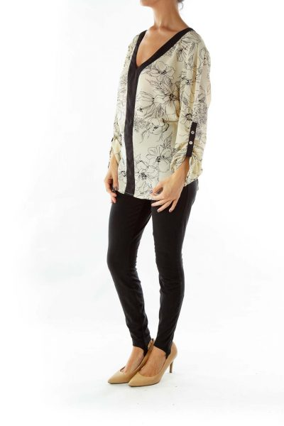 Black Cream Flower Print Blouse