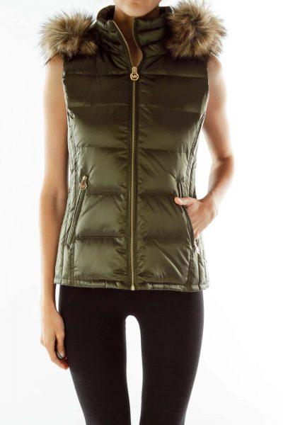 Green Faux- Fur Sleeveless Coat