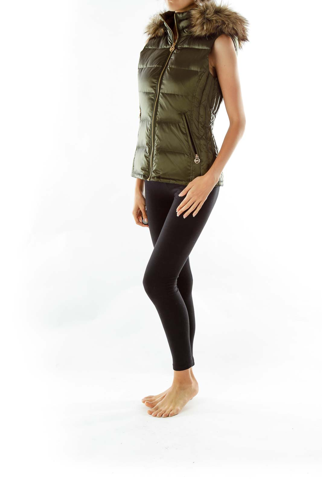 Green Faux- Fur Sleeveless Coat be9355bc65b7c