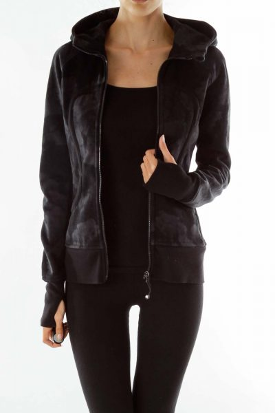 Black Hooded Fitted Sports Jacket