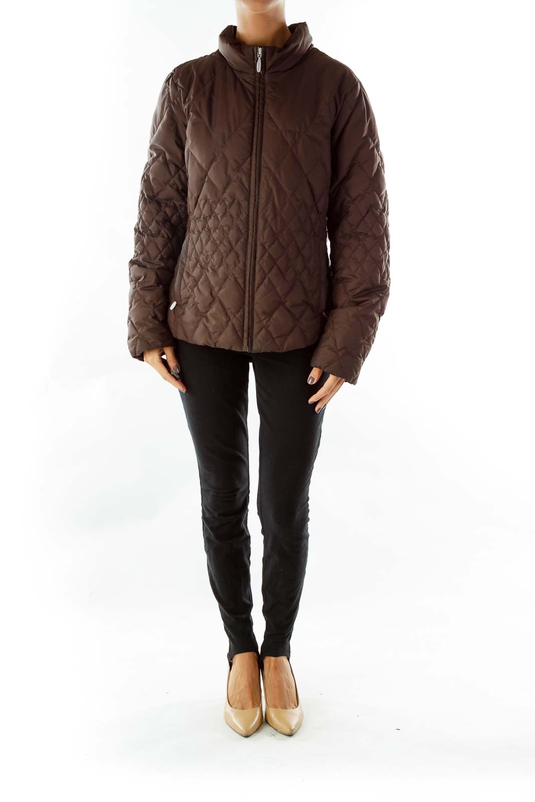 Brown Quilted Goose Feather Coat