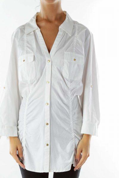 White V-neck Pocketed Button-Up Shirt
