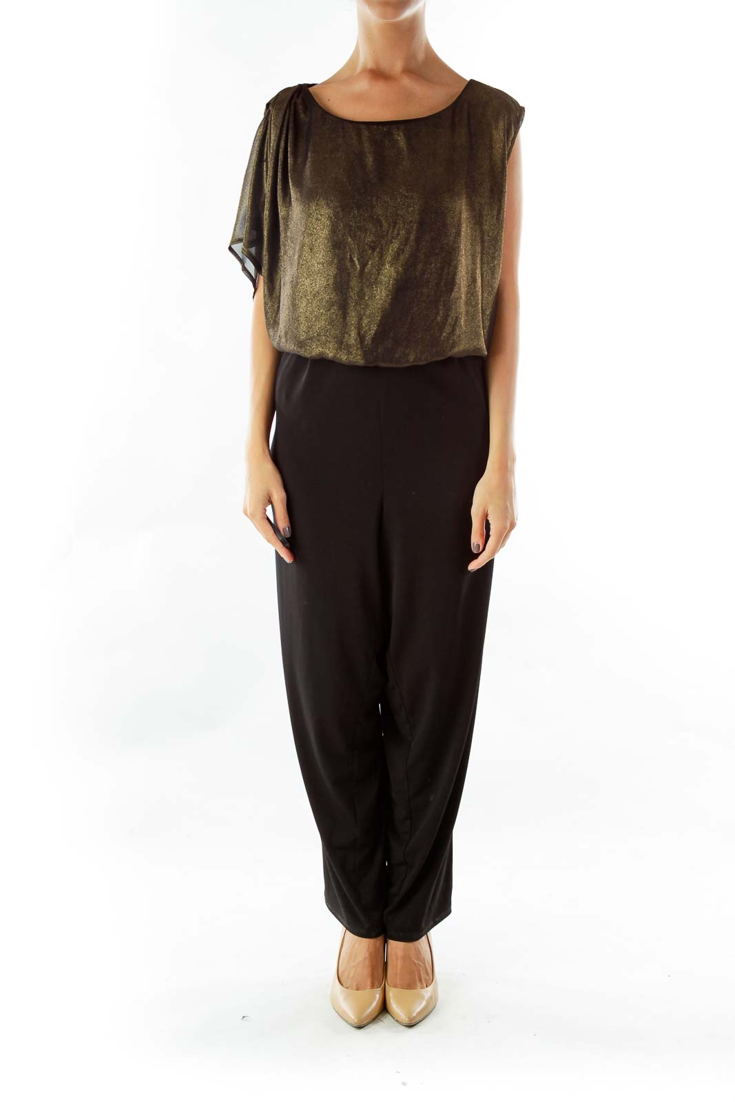 Black Gold Shimmery Pocketed Jumpsuit