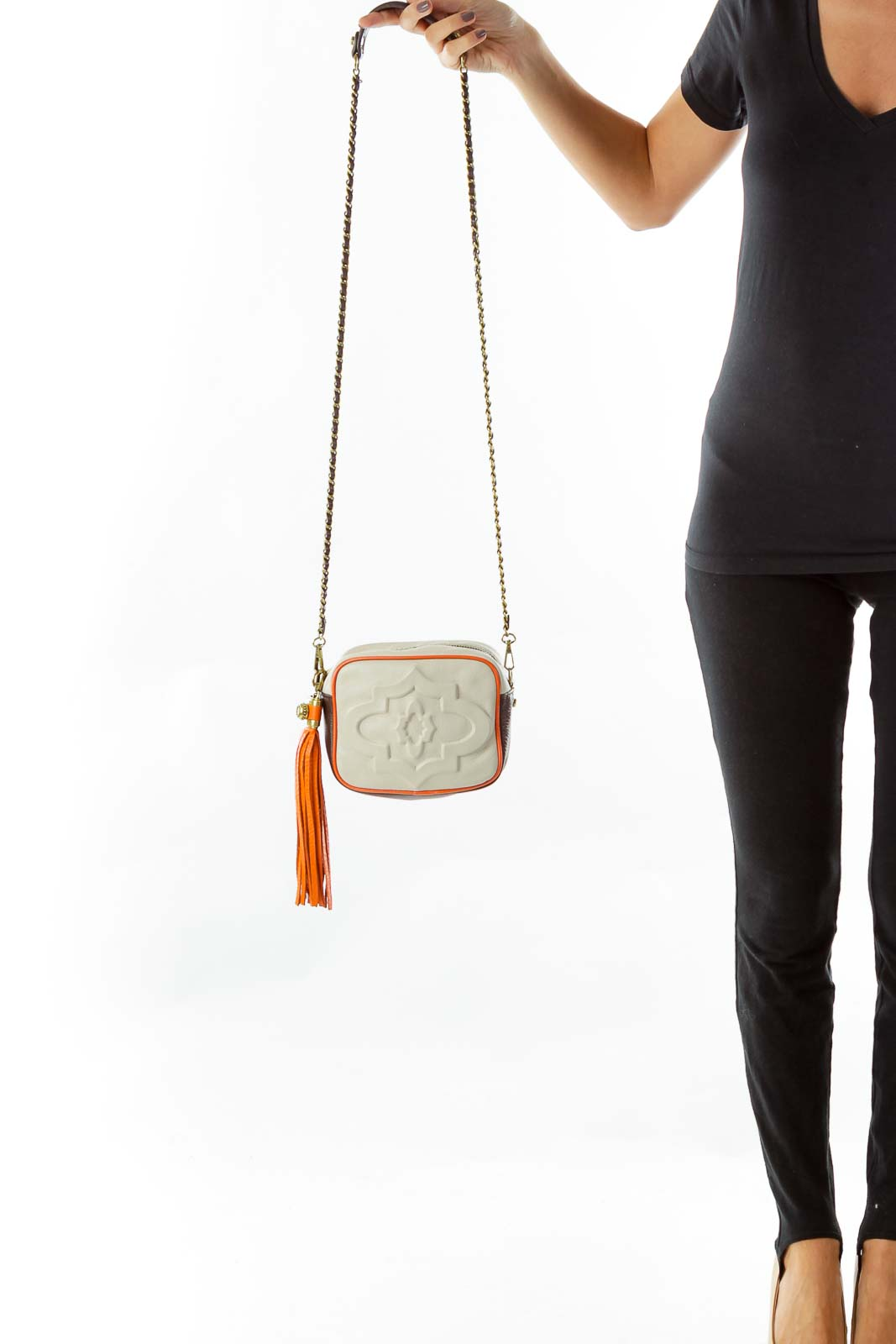 Cream Brown Embossed Crossbody Bag