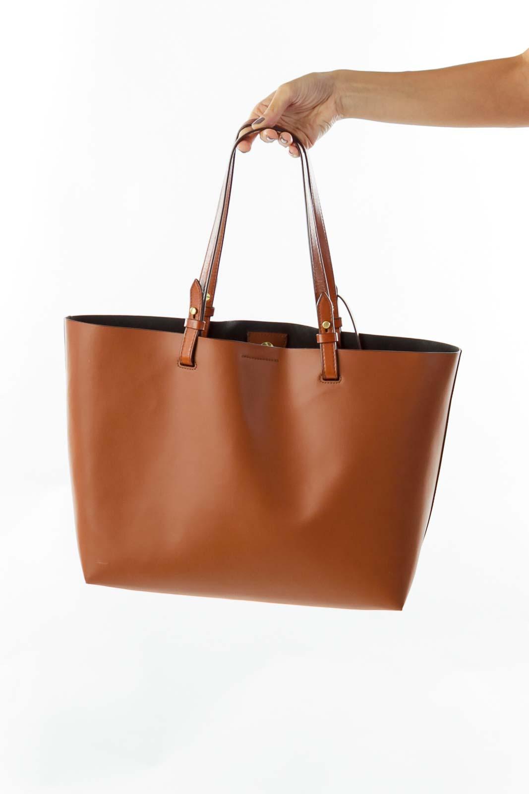 Brown Leather Bag w/ Pocket