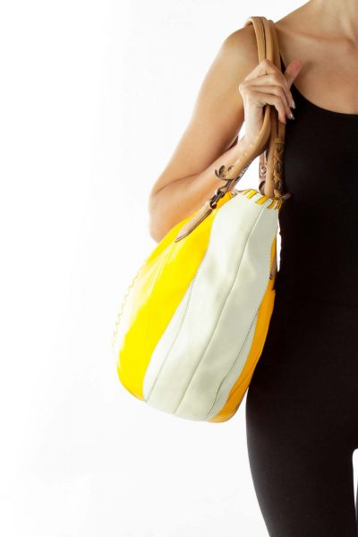 Yellow Cream Braided Leather Shoulder Bag