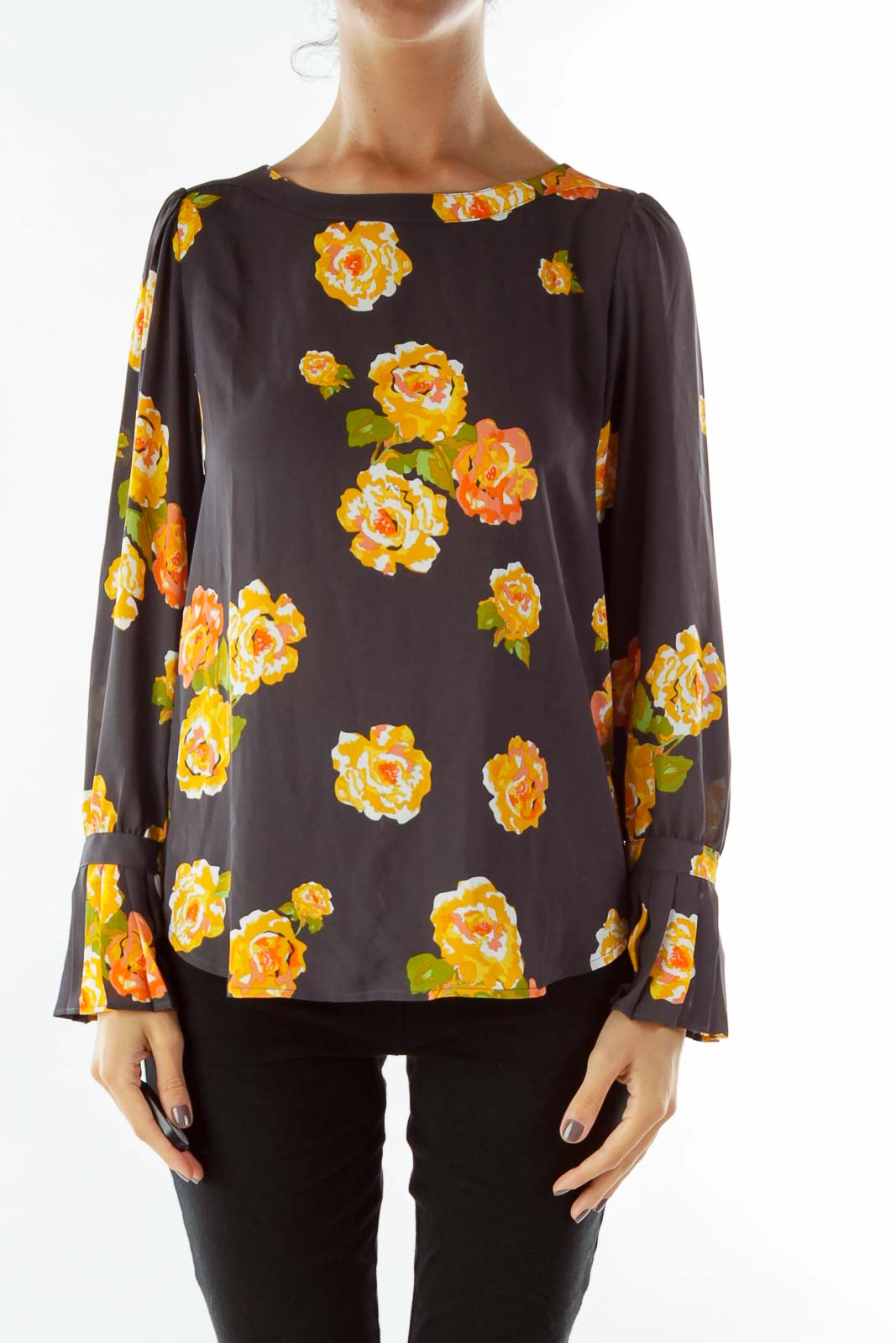 Yellow Gray Green Flower Sheer Blouse