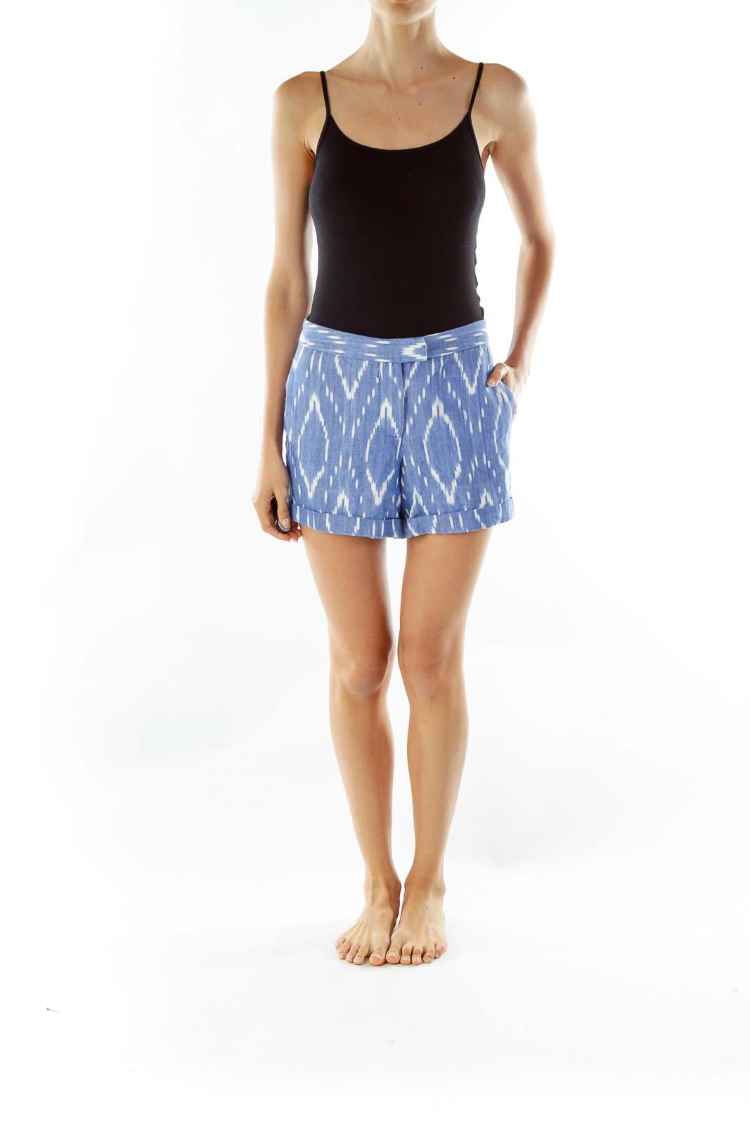 Blue White Print Cotton Shorts