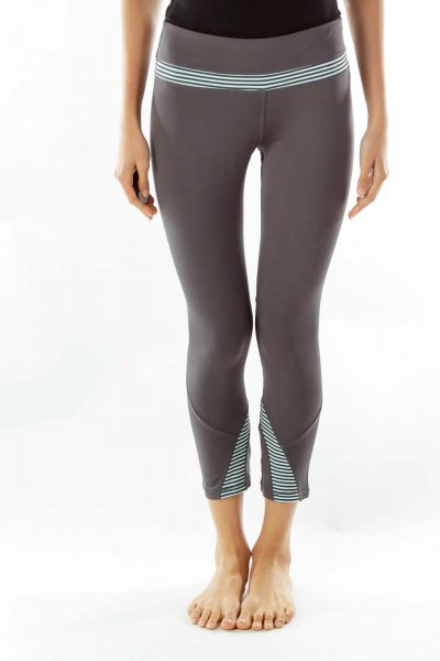 Gray Blue Striped Leggings