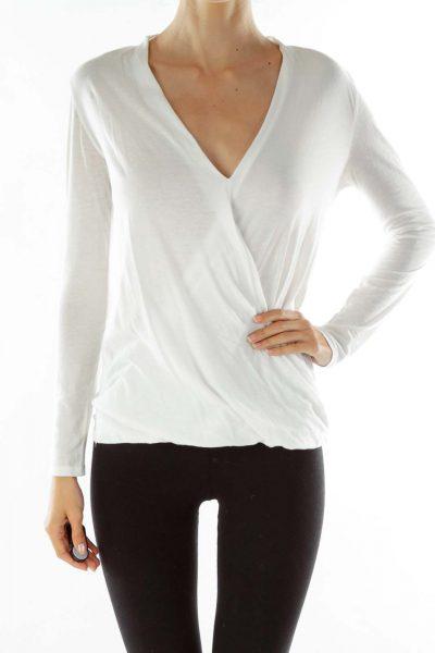 White V-neck Cotton Blouse