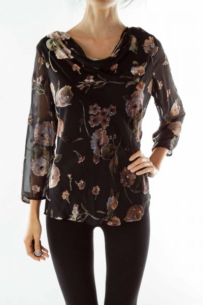 Black Brown Velvet Pattern Blouse