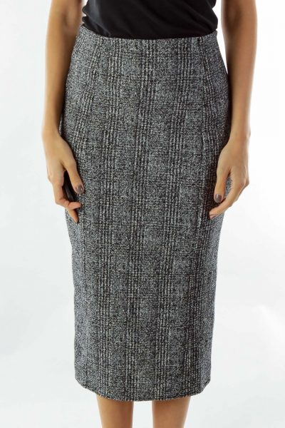 Black White Tweed Pencil Skirt