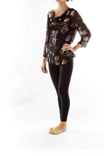 Black Brown Velvet Pattern Blouse