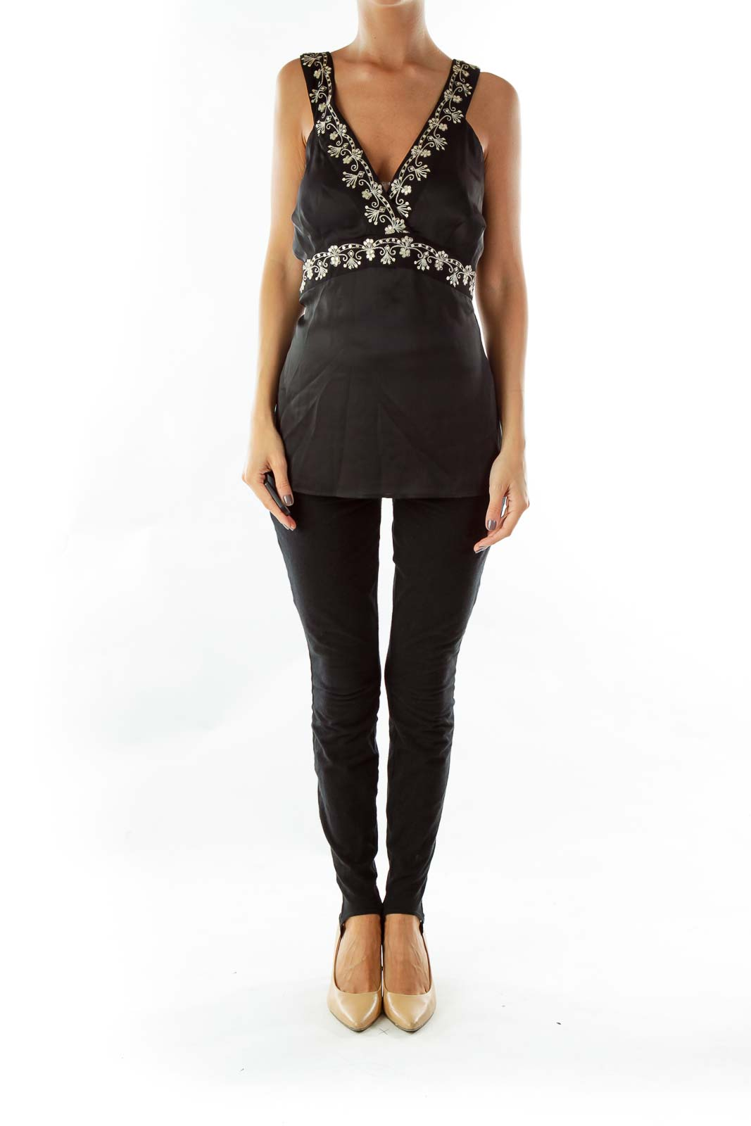 Black V-neck Embroidered Sleeveless Blouse