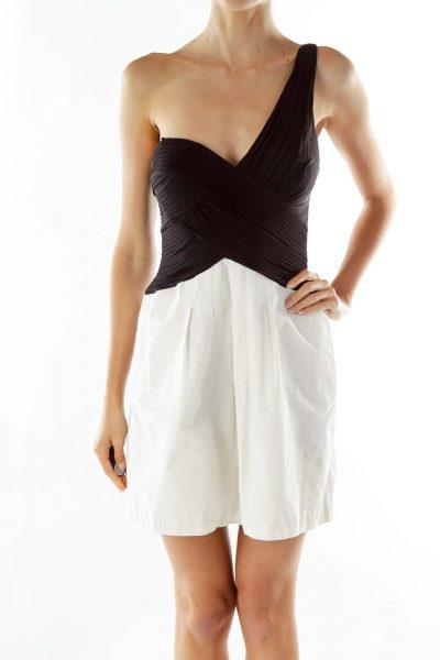 Black White Ruffled Bustier Dress