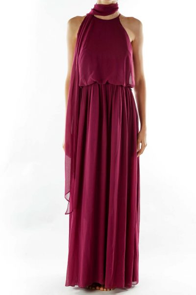 Purple Long Chiffon Dress