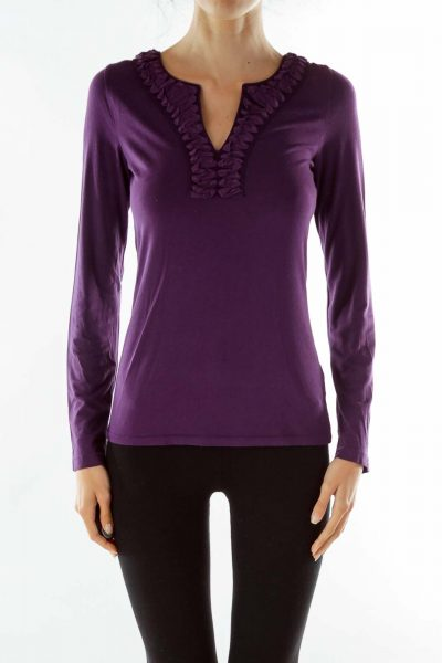 Purple Ruffled V-Neck T-Shirt