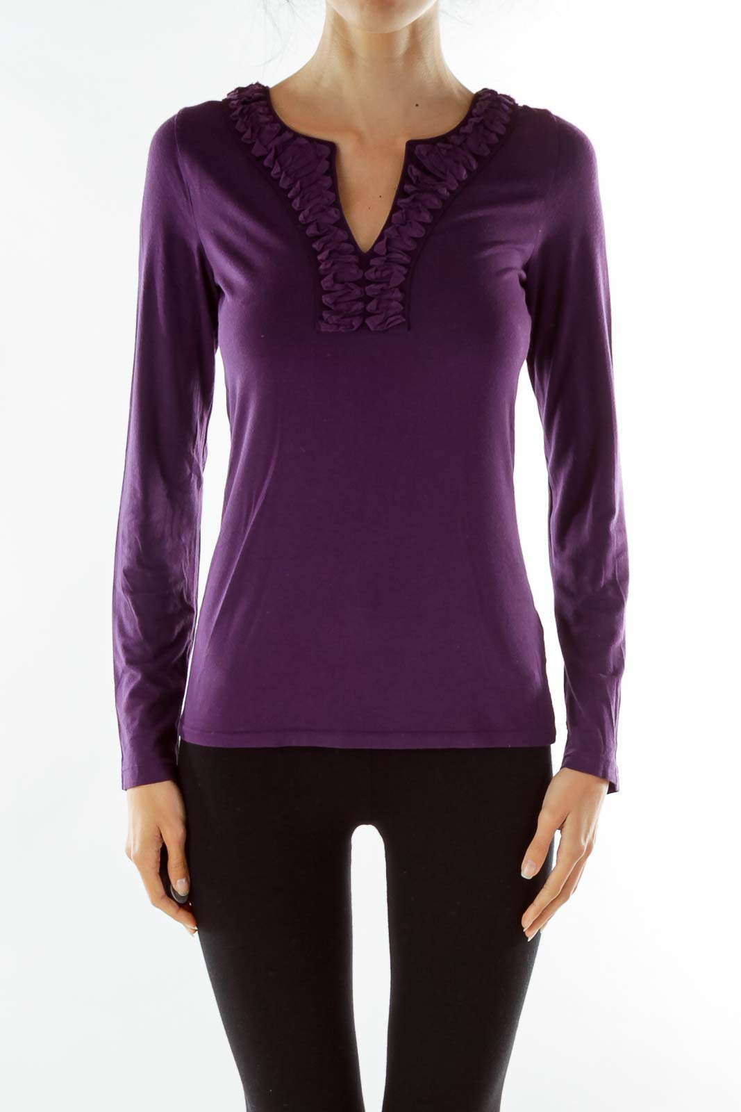 Purple Ruffled V-Neck T-Shirt