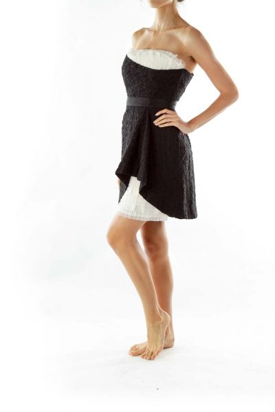 Black White Asymmetric Tulle Dress