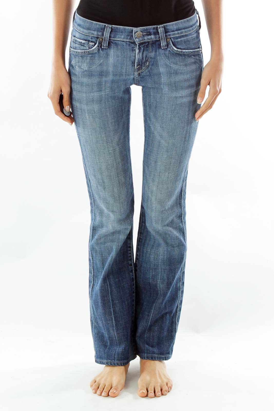 Navy Slightly Distressed Flared Jeans