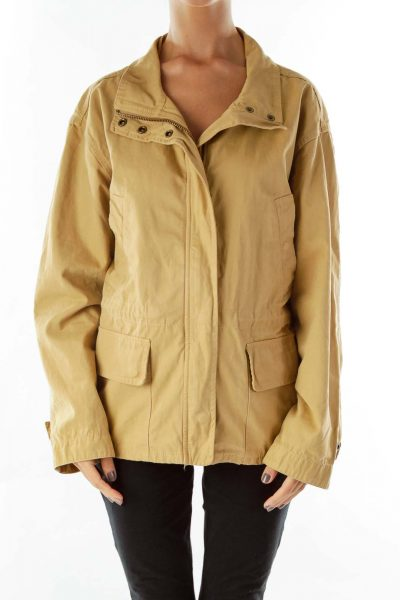 Camel Pocketed Parka Coat
