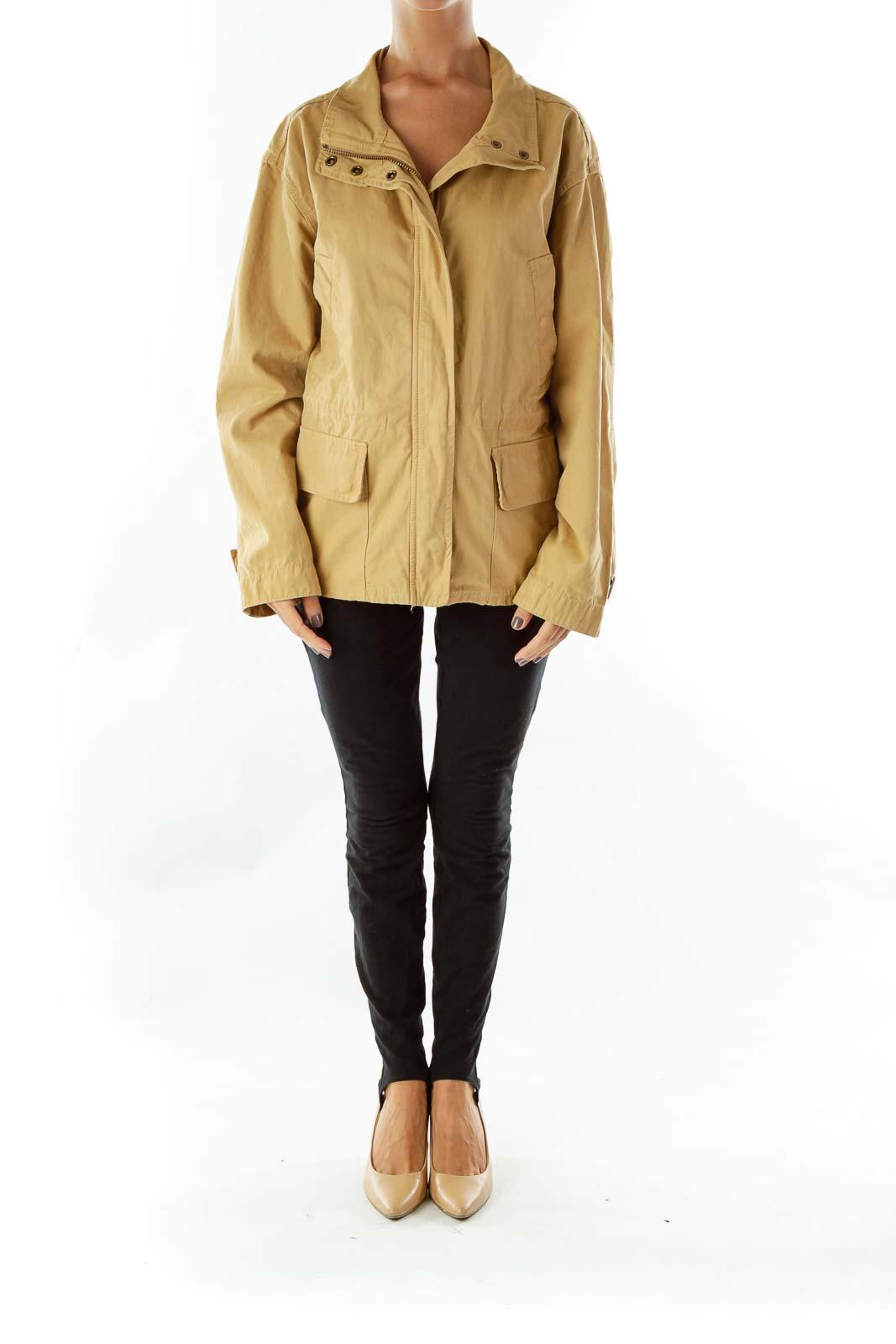 Camel Pocketed Parka Coat