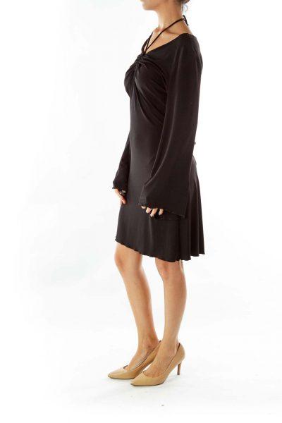Black A-Line Scrunched Dress