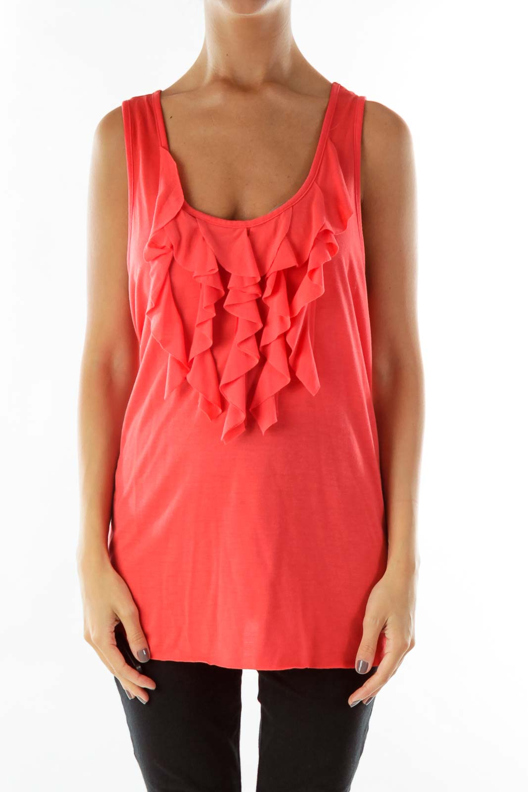 Red Ruffled Tank Top
