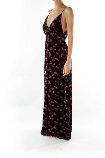 Black Pink Velvet Floral Maxi Dress