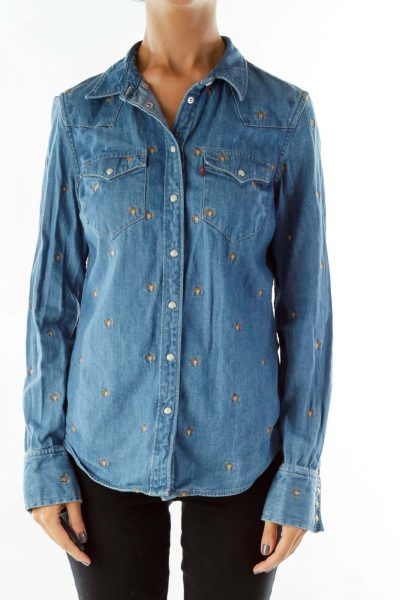 Navy Denim Shirt w/ Brown Aries