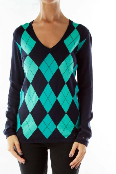 Navy Green Argyle V-Neck Sweater