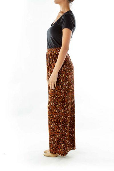 Brown Wide-Leg Leopard Print Pants