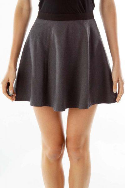 Gray Black Sparkly Flared Skirt