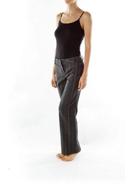 Gray Brown Striped Straight-Leg Pants