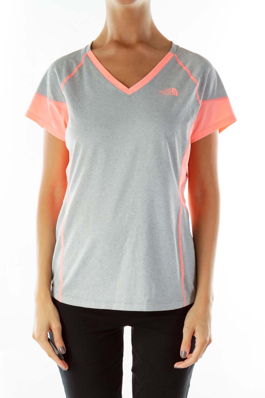Gray Orange Neon Sports Top