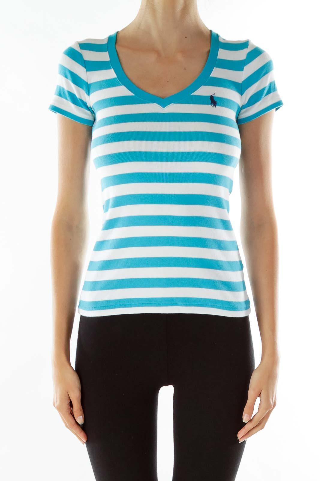 Blue White Striped V-Neck T-shirt
