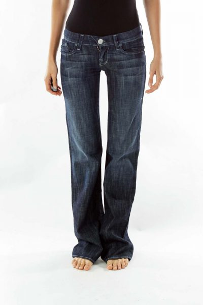 Navy Embroidered Flared Jeans