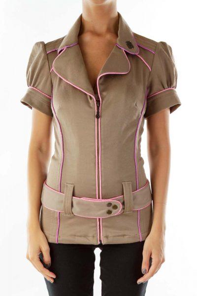 Brown Pink Lined Belted Short Sleeve Jacket