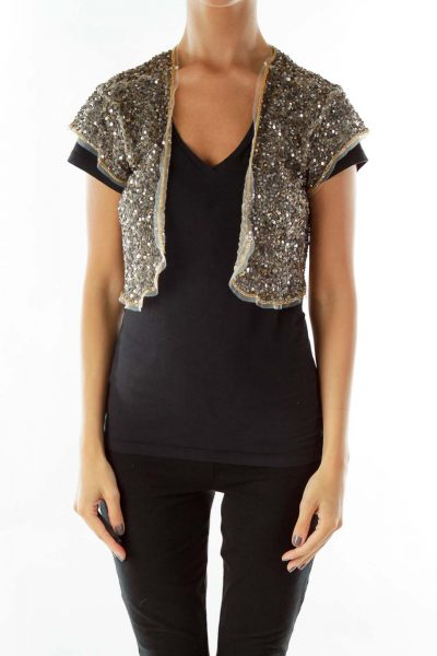Sequined Short-Sleeve Cropped Bolero