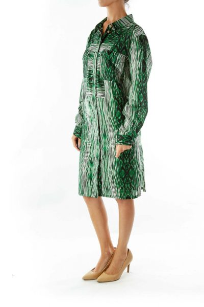 Green White Black Print Shirt Dress