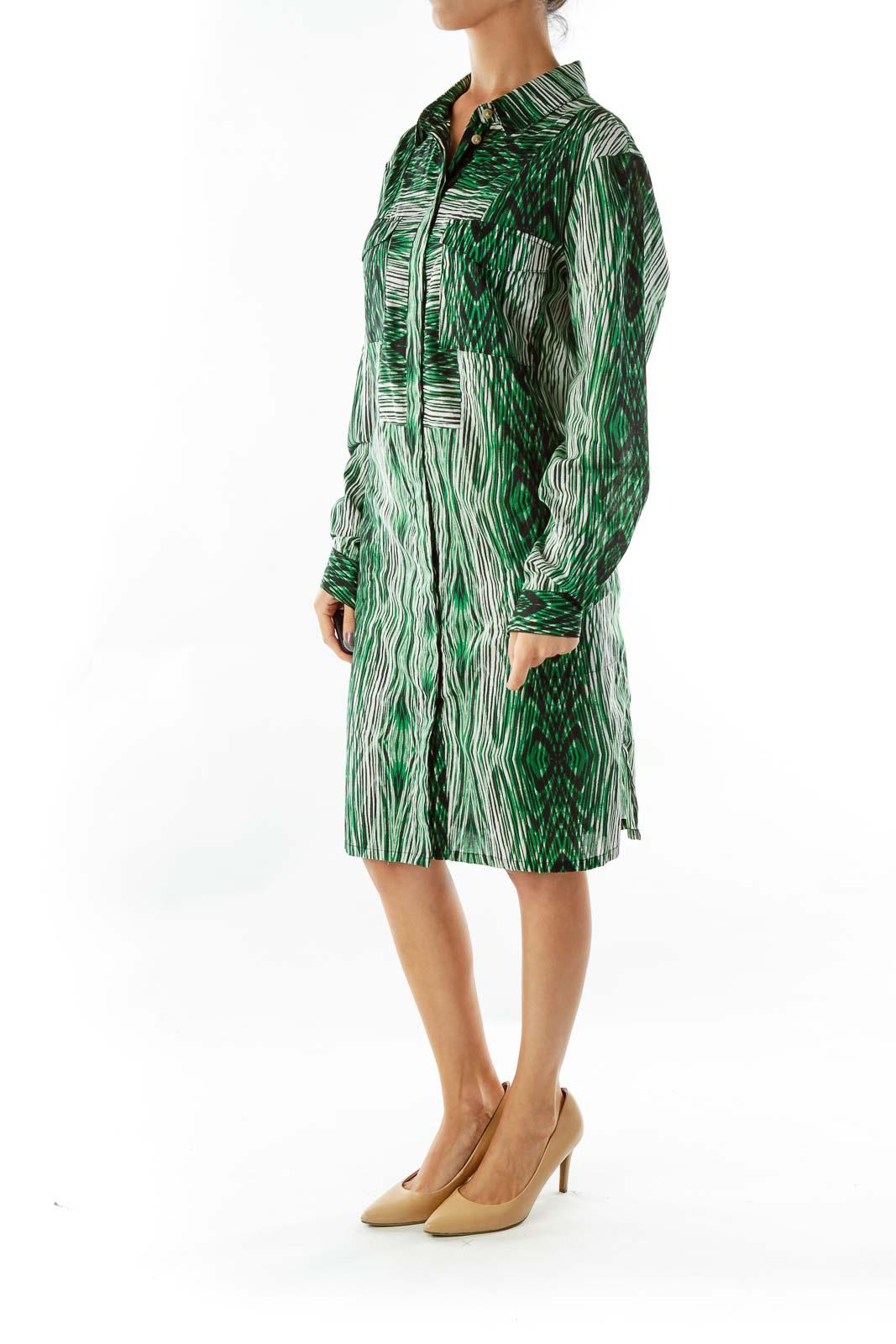 Green White Black Print Shirt Dress