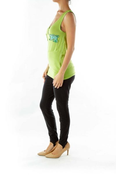 Green Blue Studded Animal Tank Top