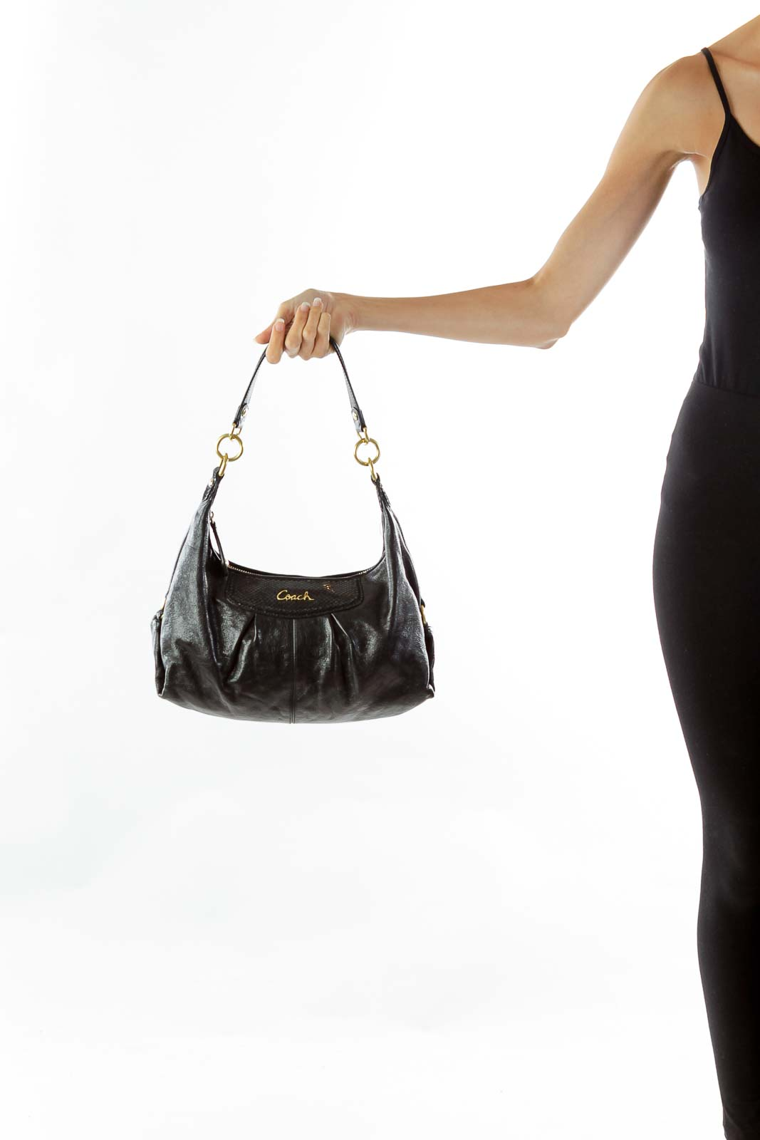 Black Snake Skin Shoulder Bag