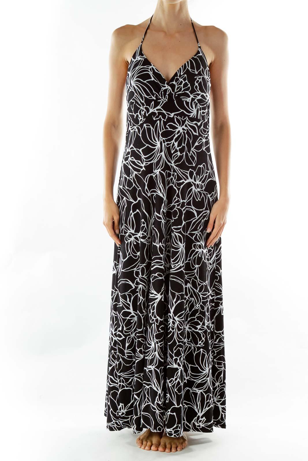 Black White Flower Print Maxi Dress